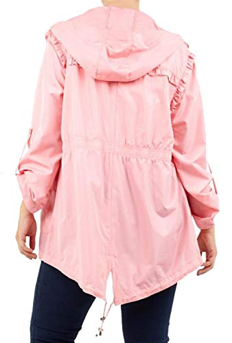Fishtail Mac CHOCOLATE Plain Ladies 8 Proof Hooded Jackets Contrast Parka Zip PICKLE Frill New Pink Raincoats Water 24 PqPAwBzH
