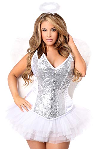 Daisy Corsets Women's Top Drawer Plus Size 4 Pc Heavenly Angel Corset Costume, Silver 2X -