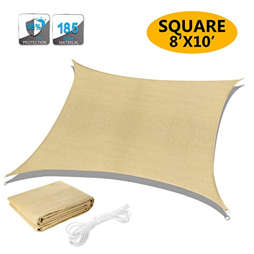 Akarden 8 x10 Sun Shade Sail Canopy Triangle UV Block for Outdoor Patio Garden