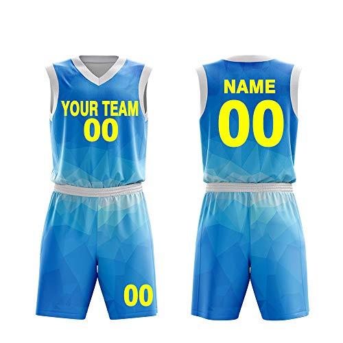 1802fc6b Custom Basketball Jerseys Set for Men Sportswear- Make Team Uniform Print  Team Name,Number and Your Name. (L, Sky Blue)