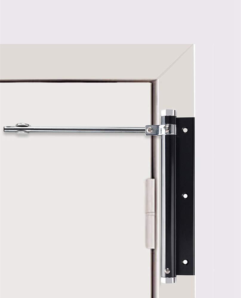 1 paquete negro YUOIP/® Cierrapuertas de aleaci/ón de aluminio ligero ajustable autom/ático para puertas montadas en superficie 77lb