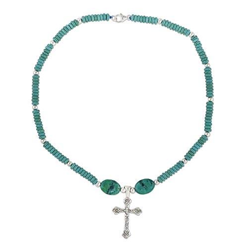 NOVICA Multi-Gem Serpentine .925 Sterling Silver Beaded Necklace, 19