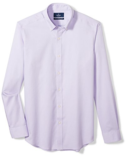 Buttoned Down Men's Tailored Fit Button-Collar Solid Non-Iron Dress Shirt (No Pocket), Purple, 16.5'' Neck 35'' Sleeve by Buttoned Down (Image #7)