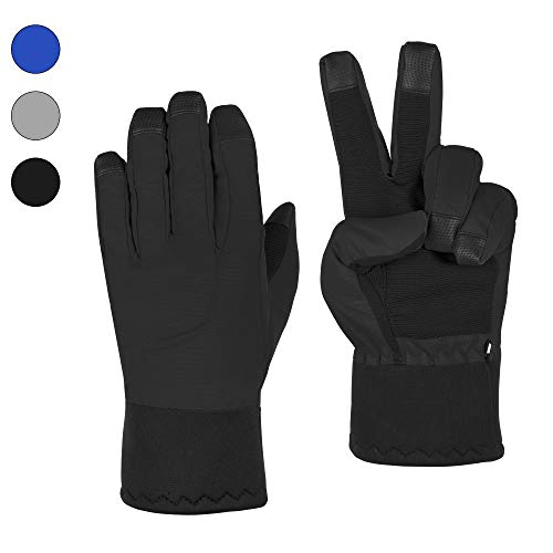 (CORJENT Men's Fleece Lined Winter Snow Gloves, Thermal and Insulated, Touchscreen Capable (Black, L -)