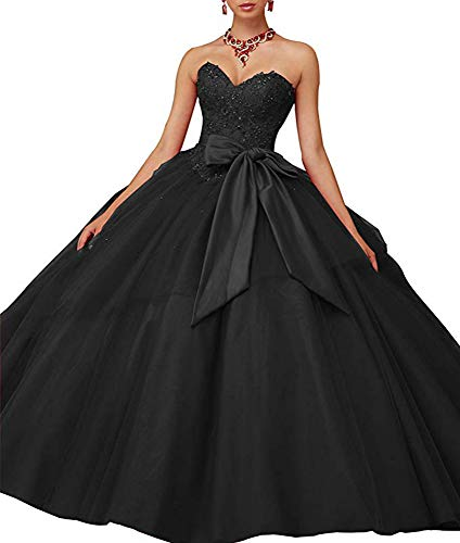 XSWPL Gorgeous Heavy Beaded Organza Quinceanera Dresses for Sweet 16 Ball Gowns Black -