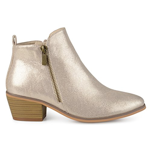 (Brinley Co. Womens Faux Leather Stacked Heel Side Zip Booties Gold, 10 Regular US)