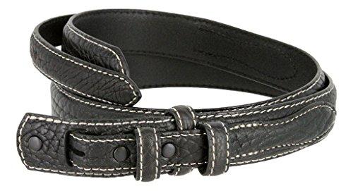 Western Ranger Genuine Leather Bison Belt Strap for Men (Black, ()