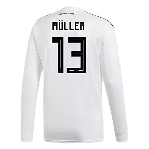 文明化頑張る弱いadidas MULLER# 13 Germany Home Soccer Long Sleeve Stadium Jersey World Cup Russia 2018/サッカーユニフォーム ドイツ ホーム用 ミュラー # 13 長袖