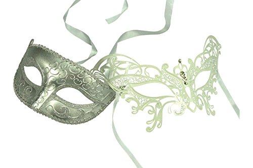 Kayso Inc Original Lover's White Collection - Couple's Masquerade Mask Set, Set 13