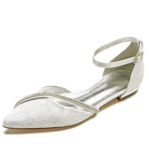 Zapatos Boda De PedreríA Mujer 36 43 Cerrado De TamañO Ivory Blanca De Bombas L YC Hebilla SatéN Punta wtqIOfE1