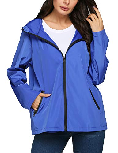 LOMON Raincoat Women Patchwork Teens Girl University Sheer Slim Rain Jacket(Blue,XXL)