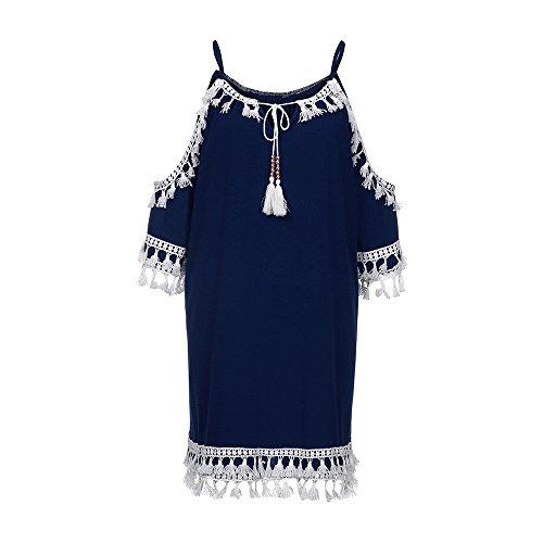(Benficial Women Off Shoulder Dress Tassel Short Cocktail Party Beach Dresses Sundress Navy)