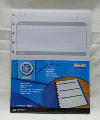 Full Sheet Refill ((50) To Do List Refill Paper 8.5