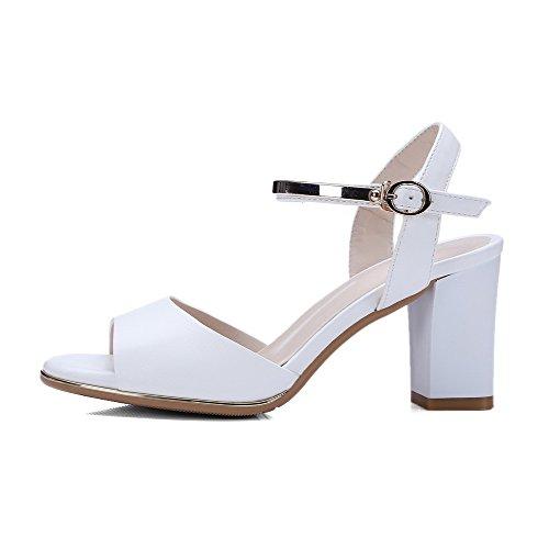 AgooLar Women's Buckle Open Toe High Heels PU Solid Sandals With Metal White vhkS2FYb