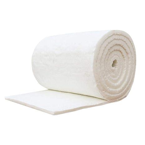 Biback - Manta ignífuga de algodón y Fibra de cerámica para Estufas de Madera y Chimenea, Blanco, 20 mm