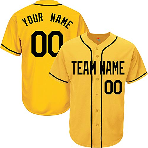 - Yellow Customized Baseball Jersey for Women Button Down Stitched Team Player Name & Numbers,Black Size M