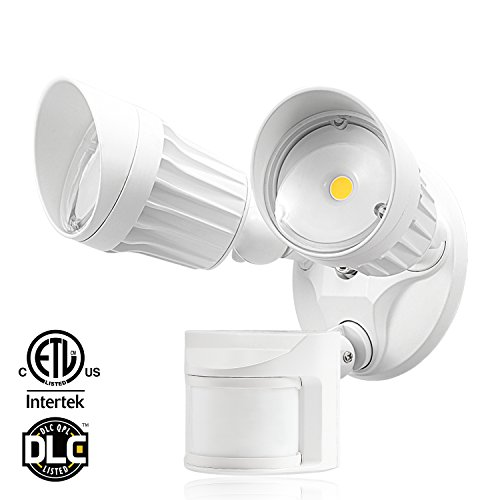 Dual-Head Motion Activated LED Outdoor Security Light, 20W (120W Equivalent), 3 Work Modes with Photo Sensor, 1600Lm Floodlight for Porch, Stairs, 3000K Warm White, White (Porch Wht Light)