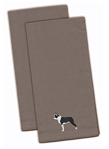 (Caroline's Treasures BB3444GYTWE Boston Terrier Gray Embroidered Kitchen Towel (Set of 2), 28