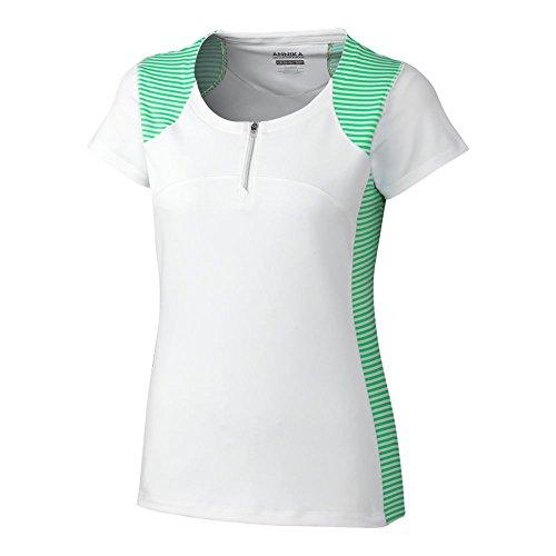 Cutter & Buck Whimsy Stripe Zip Crew Neck T-Shirt, White, X-Large