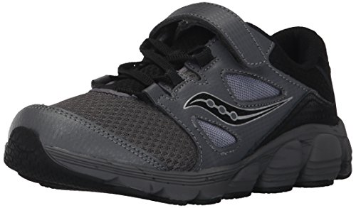 Saucony Kotaro 4 A/C Sneaker (Little Kid/Big Kid), Black/Grey, 1 W US Little Kid (Youth Saucony Grid)