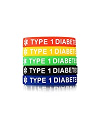 LF 5Pcs Mens Womens Colorful Silicone Medical Alert Bracelets,Rubber Type 1 Diabetes Medical ID Cuff Bracelet Wristband Sos Emergency Health Alert,Pack of 5,Red Yellow Green Black Blue