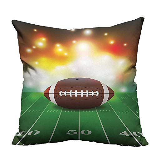 YouXianHome Household Pillowcase Football Ball Golden Properti Grass Turf Field Team Graphic Brown Perfect for Travel(Double-Sided Printing)