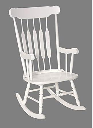 Amazon.com: Adulto mecedora de madera maciza color blanco ...