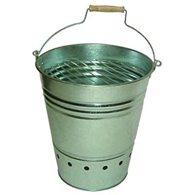 Esschert Design Fire Bucket - Perfect for placement outdoors near a garden, patio, or in the yard Bucket 13.65 inch 11.895 inch 13.182In Zinc BBQ Bucket with grill shelf and handle - patio, fire-pits-outdoor-fireplaces, outdoor-decor - 41EQvjWELpL. SS400  -