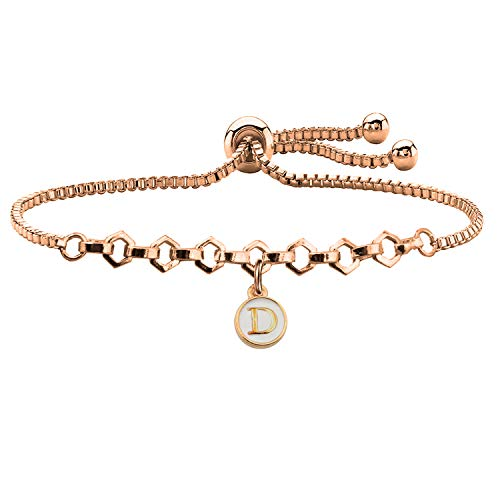 (FUSTMW Rose Gold Initial Charm Bracelet Letters Alphabet Adjustable Bracelet for Women Girls (D))