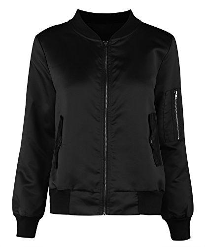 Uhnice Women's Autumn Lightweight Full-Zip Bomber Jacket Coat (S, Black) (Cotton Blend Jacket)