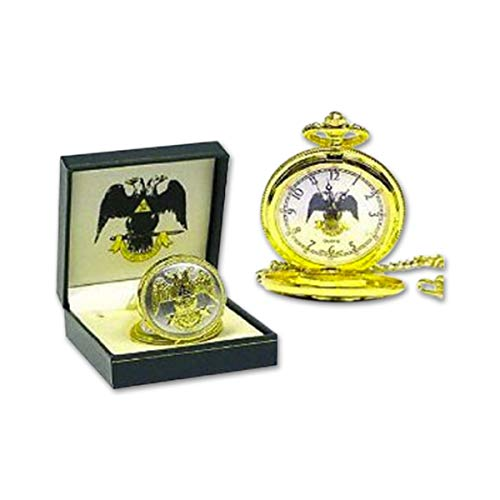 Gold Eagle Pocket Watch - 32nd Degree Double Headed Eagle Scottish Rite Gold Masonic Pocket Watch - 1 3/4