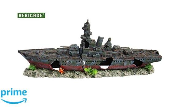 Adorno de buque de guerra naufragado para pecera; figura pintada a mano: Amazon.es: Productos para mascotas