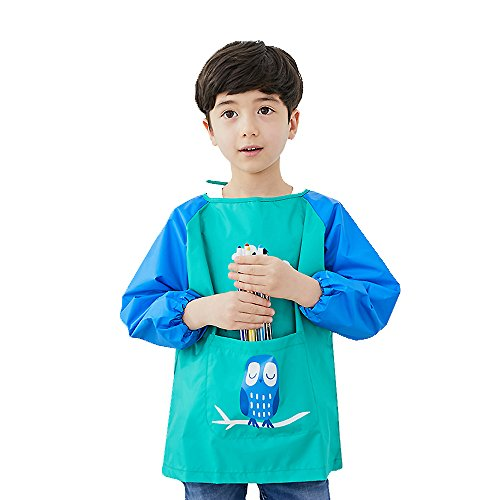 Hosim Kids Painting Apron for Girls and Boys, Art Craft Smock with Large Pocket