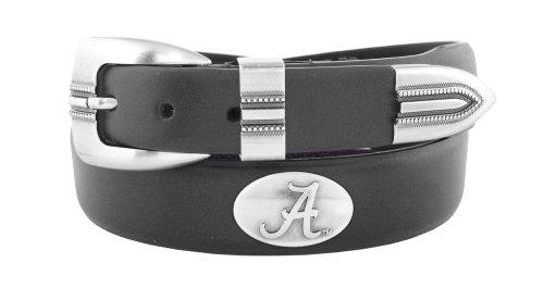 NCAA Alabama Crimson Tide Black Tip Leather Concho Belt, 38