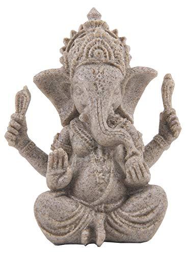 Funnuf Ganesha Statue Sculpture Sandstone Ganesh Elephant God Buddha Figurine Small 2.95