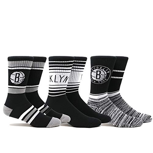 NBA New Jersey Nets Nets Team 3 PK Crew Socks, Medium, Multicolor