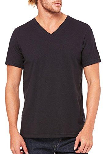 (Bella 3005 Unisex Jersey Short Sleeve V-Neck Tee - Vintage Black, Extra Small)