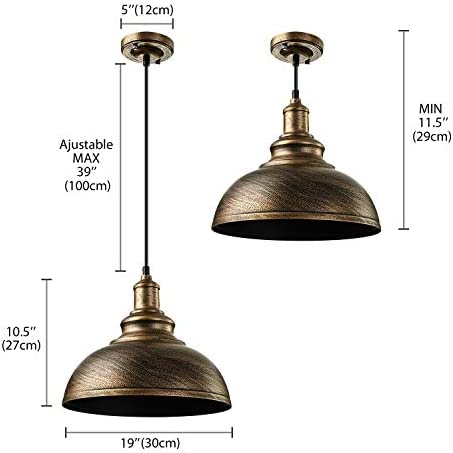 BAYCHEER HL371907 Antique Rust Industrial Retro Iron Brilliant Bronze Finish Large Pendant Light – Ceiling Lighting – Chandelier for Restaurant with 1 Light