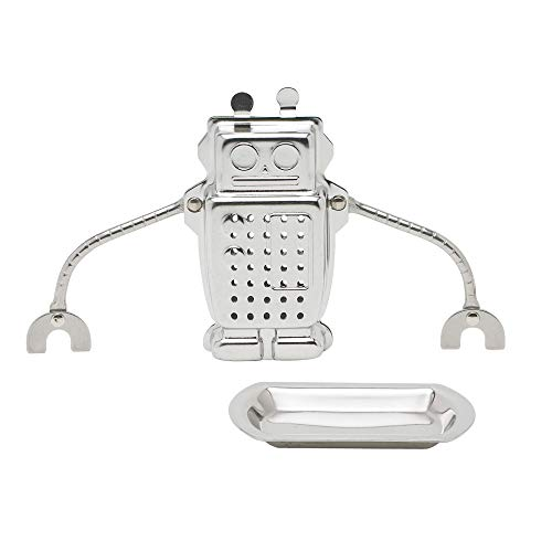HIC Tea Infuser, Hangin' Dunkin' Droid Robot with Drip Tray, Stainless Steel