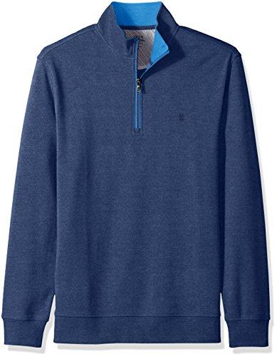 IZOD Men's Saltwater 1/4 Zip Long Sleeve Fleece, Club Blue, Large Zip Sweater Vest