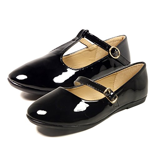 Girls Flat (Nova Utopia Toddler Little Girls Dress Ballet Mary Jane Bow Flat Shoes,NF Utopia Girl NFGF060New Black 1)