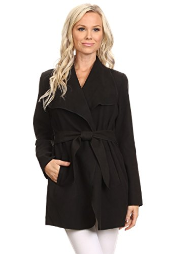 Women's Long Waterfall Belted Wrap Coat Jacket (Medium, Black)