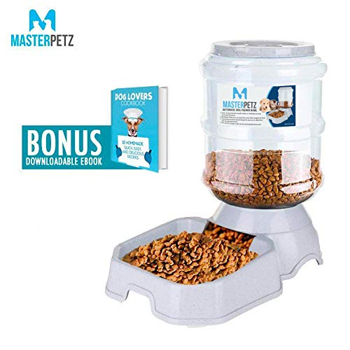 Automatic Cat Feeder for Dog Puppy Kitten Small Medium Pet, 6 lbs Capacity Gravity Food Dispenser Feeding Bowl with Premium PP Safety Twist Mouth Ring, Dog Recipe eBook Included