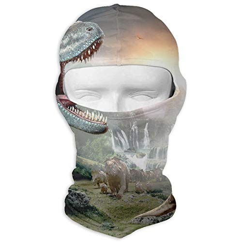 Leopoldson Dinosaur Openmouth with Cub Balaclava UV Protection Windproof Ski Face Masks for Cycling Outdoor Sports Full Face Mask Breathable ()