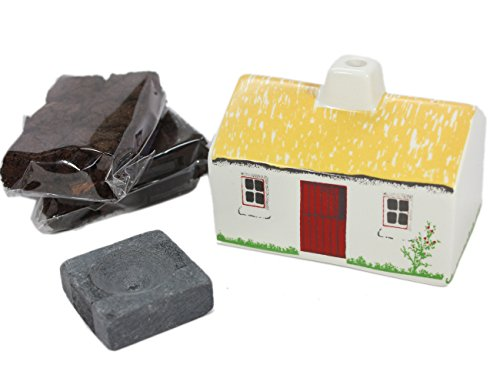 Irish Turf Incense & Ceramic Cottage Irish Peat,Beige,, used for sale  Delivered anywhere in USA