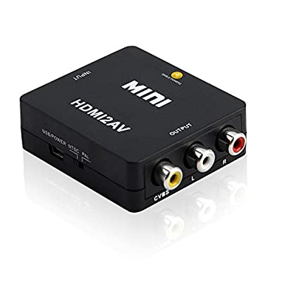 Top Notch Quality HDMI to AV Converter Composite 1080p HDMI to 3 RCA Audio Video AV CVBS Adapter HDMI 2 AV Converter Supports PAL/NTSC for HDTV DVD (Black)