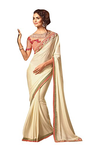 ODHNI Women's Bollywood Designer Cream Sari