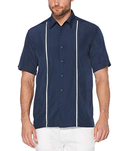 Cubavera Mens Contrast Insert Stitching Short Sleeve Woven Shirt,Dress Blues,Large