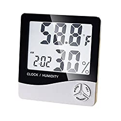 Ovovo Multifunctional LCD Digital Hygrometer Thermometer Indoor Outdoor Humidity Thermometer Clock Calendar °C/°F Switchable with MIN/MAX Records