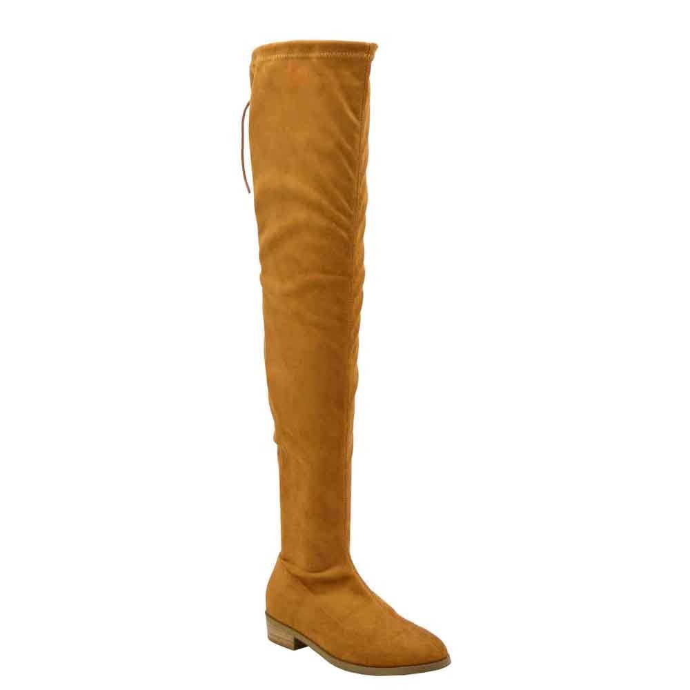 Olivia Jaymes Over The Knee Boot | Thigh High Drawstring Stretch Upper | Round Toe | Low Chunky Block Heel Boots B077WFXPYW 9 B(M) US|Cognac